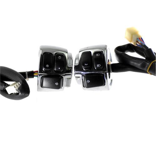 """1/"""" Motorcycle Handlebar Control Switch Housing Wires Harness For Softail Chrome"""