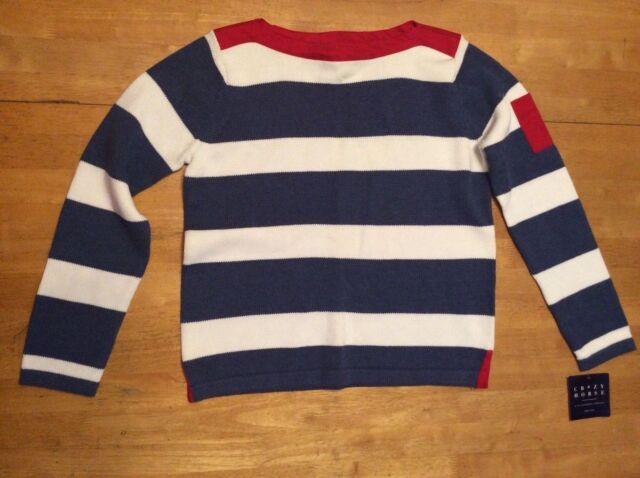 New  44 CRAZY HORSE Liz Claiborne Blue White Stripe SWEATER Red Trim M  Petite dcc8a7276