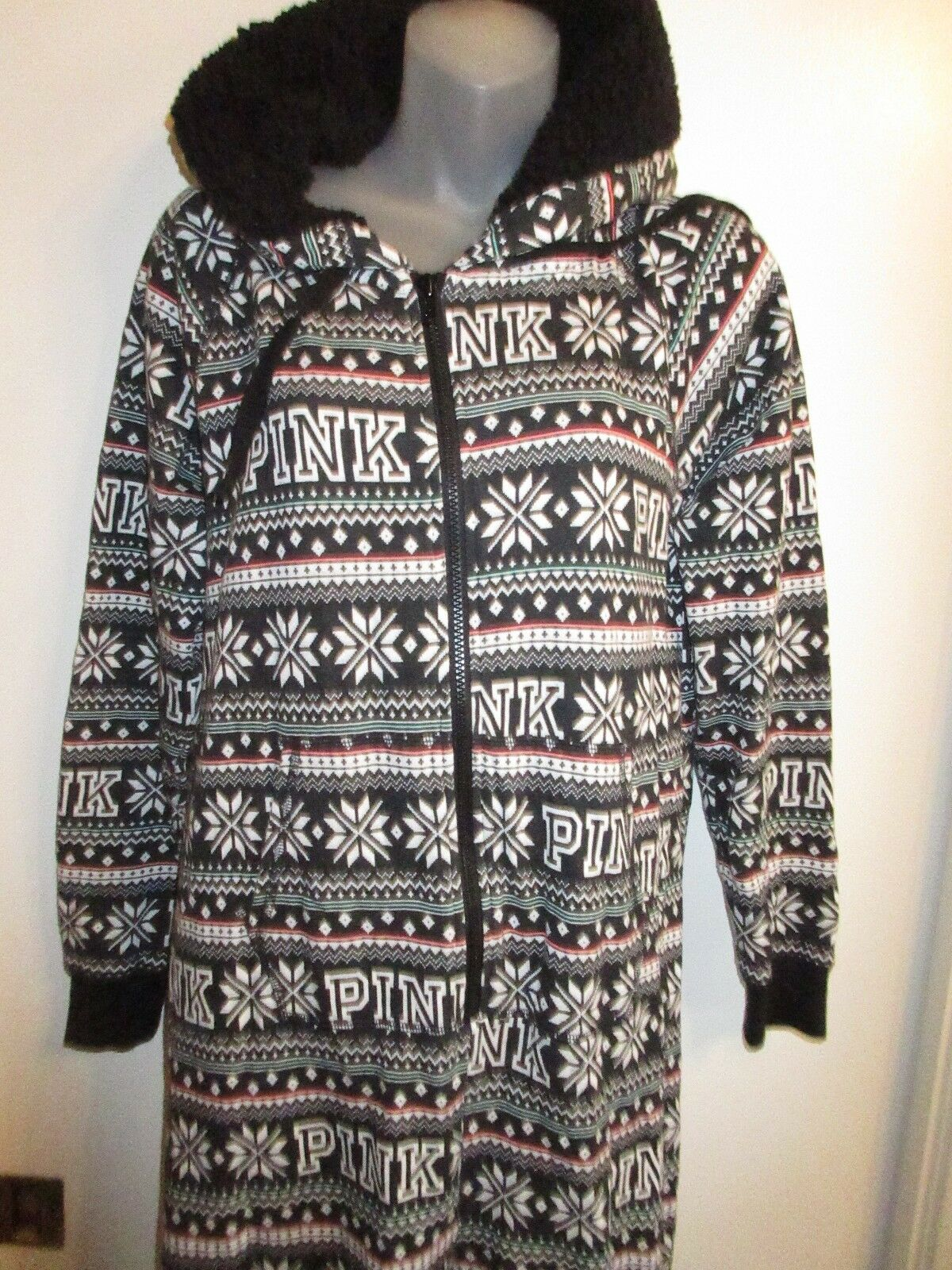 Victoria's Secret S One Piece Thermal Sherpa Hoodie Fair Isle Jumper Holiday