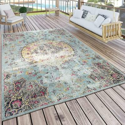 Indoor Outdoor Rug Turquoise Woven Mat Small Large Shabby