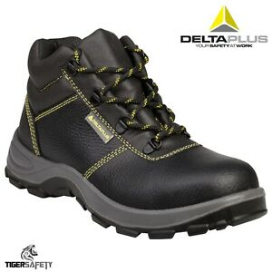 a520c57e564 Details about Delta Plus Gargas S1P SRC Mens Black Leather Steel Toe Cap  Safety Boots PPE