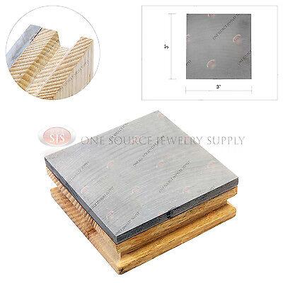 "Steel Bench Block Wooden Base Hammering 3"" Jewelers Tool Flattening Shaping"