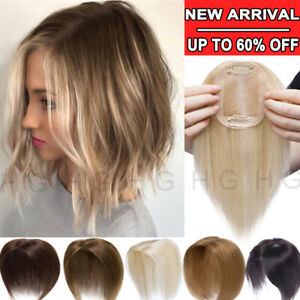 US-100-Virgin-Human-Hair-Topper-Hairpiece-For-Women-Blonde-Clip-In-Silk-Base-HG