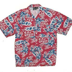 Vintage-No-Fear-Hawaiian-Shirt-Men-039-s-Medium-100-Cotton-Made-USA-Red-White-Blue