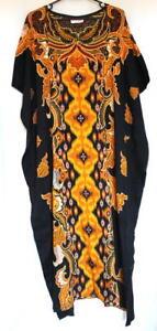 Batik-Kaftan-Calf-Length-Floral-Design-Black-Orange-New