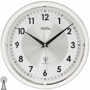 Ams Wanduhr Funkuhr Funk Uhr 30 Cm Groß Silber Weiß Uhr Rund