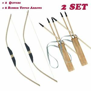 Details about Junior Kids Archery Wooden Bow & Arrows Set Quiver Outdoor Hunting Target Toy