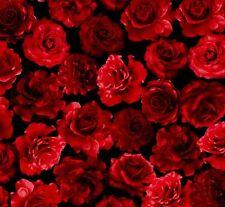 Cuarto gordo Rosas Rojas En Negro 100% Cotton Quilting fabric tesoros atemporales