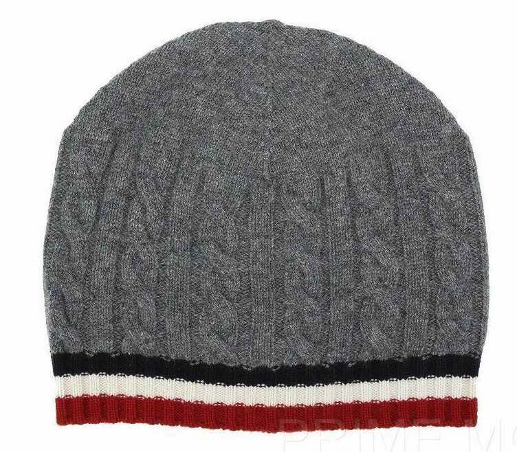 NEW MONCLER GAMME BL% BEANIE CASHMERE GRAY WEB DETAIL BEANIE BL% HAT ONE SIZE 58cbef