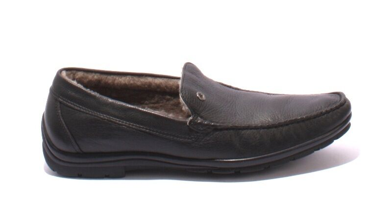 d87e713b982a ... Ernesto Dolani 9640a Black Leather       Sheepskin Deer Driver  Moccasins 47   US 14 ...