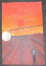Nice! MARS Red Planet Space Landscape Star Sun Moon. Trek Art. Signed Original