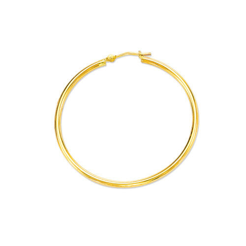 PLAIN HOOP EARRINGS 14K YELLOW gold 2mmX30mm