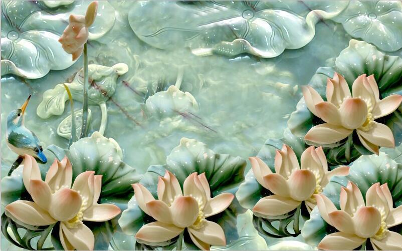 3D Flower Jade Bird Fish WandPapier Decal Dercor Home Kids Nursery Mural  Home