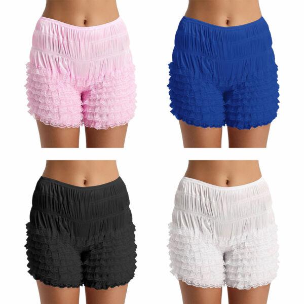 Damen Unterhose langes Bein Schlüpfer mit Rüschen Spitzen Sicherheits Shorts