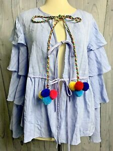 Anthropologie-English-Factory-Blue-Ruffled-tie-front-Top-Blouse-Shirt