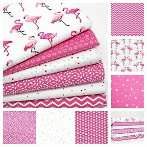 FLAMINGO-100-COTTON-fabric-FQ-METRE-OR-BUNDLE-pink-cerise-CLOUD-DOT-spot