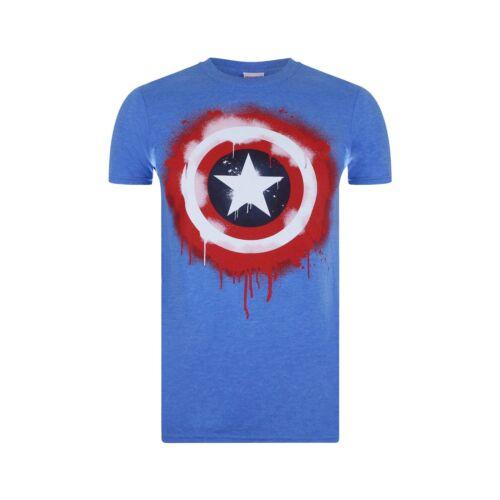 Royal Blue Captain America T-shirt Official Marvel Mens Stencil Shield