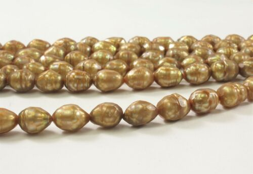 8 x 10 mm Faceted Rice Freshwater Pearls Olive Green OR Medium Champagne #397