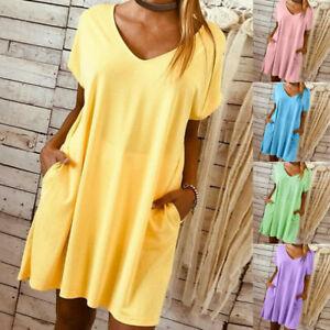 Women-Short-Sleeve-Mini-Dress-Summer-Pocket-Casual-Boho-Kaftan-Tunic-Plus-Size