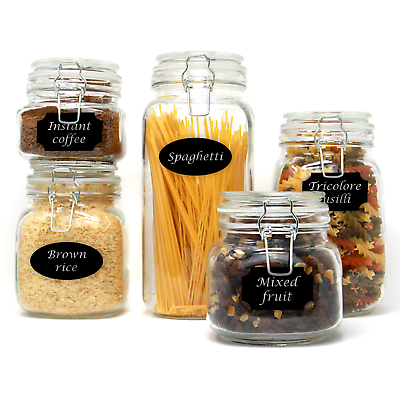 Set of 5 Clip Top Glass Storage Jars | Airtight Vintage Kitchen Containers  | M&W | eBay