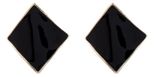 Billie B Clip On Earrings gold plated stud earring with black enamel