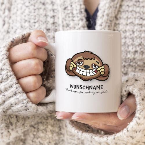 Tasse personalisiert mit Name Motivtasse Affe mit Wunschnamen bedrucken Geschenk