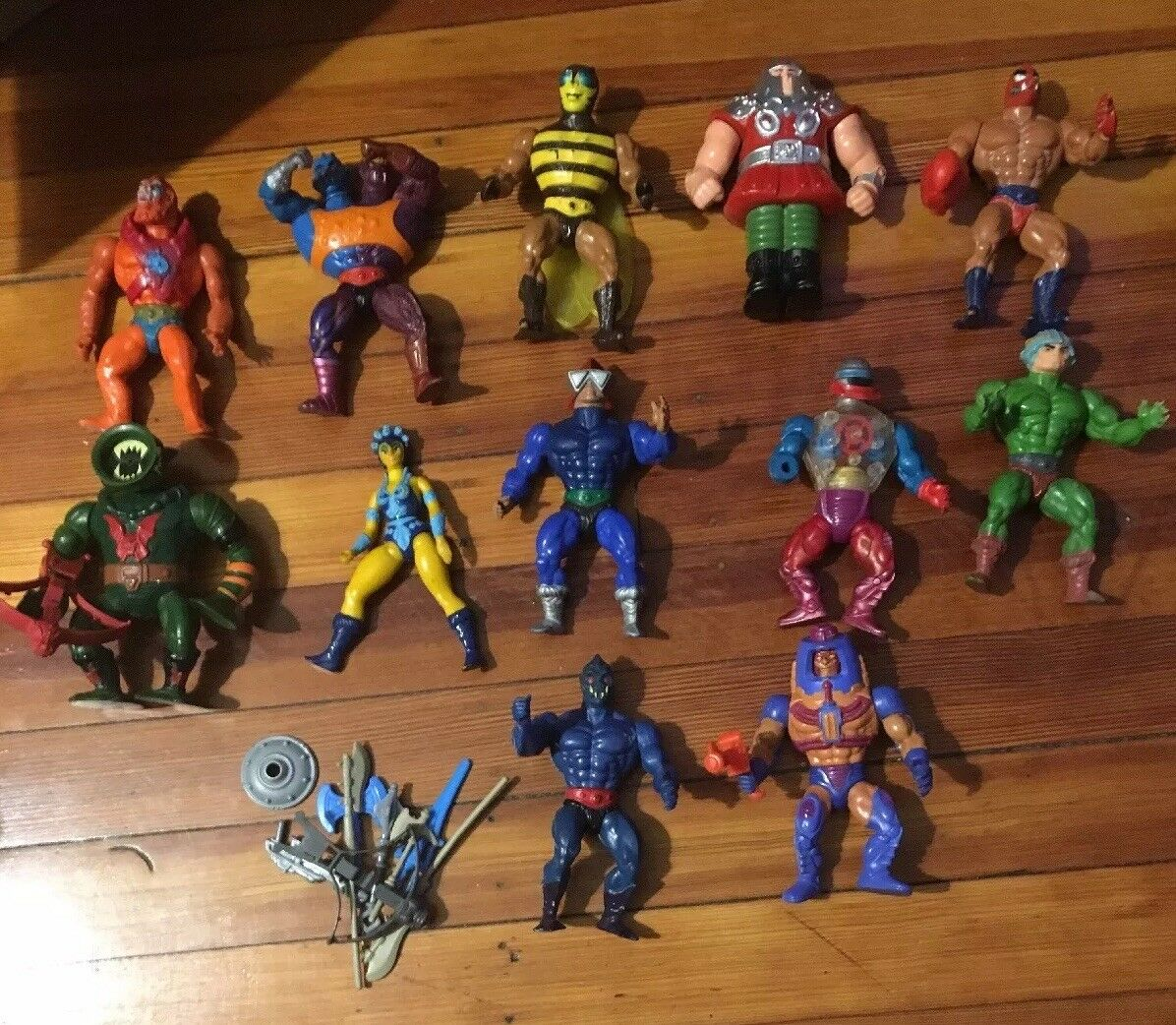 Lot of 12 vintage Masters of the the the Universe He-Man Figures weapons MOTU ca3d51