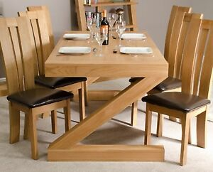 Image Is Loading Zouk Solid Oak Designer Furniture Large Chunky Dining