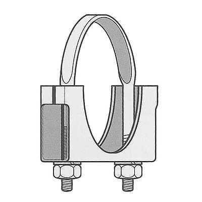 """5"""" Welded Saddle Clamp - Flat U Bolt - Zinc Plated Muffler Stack Pipe Exhaust"""