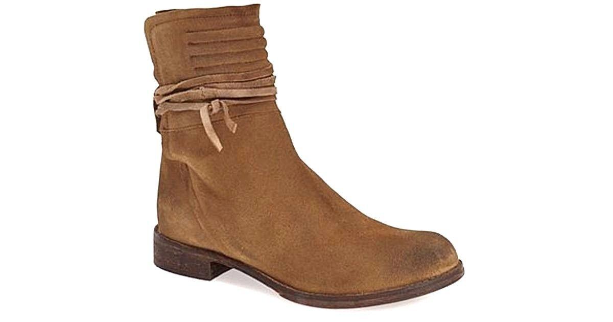 Free People CAMBRIDGE Ankle Stiefel Beige Leder Sz.8.5-9/39 M NWOB 198