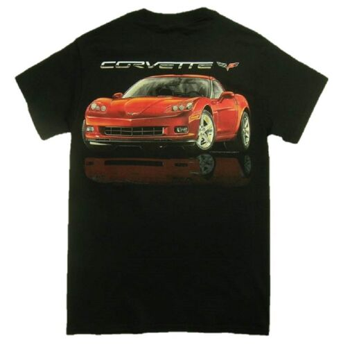 Chevy Red Mirrored Corvette Automobile Car Tee GM Chevrolet