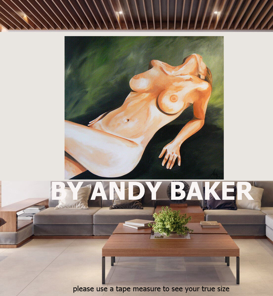 Original art painting print signed Andy Baker Beach Australia nude Muse abstract