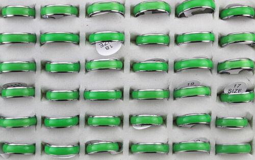 100 Edelstahlringe Ring Großhandel Lots Grün Modisch Unisex Ring Schmuck DH183