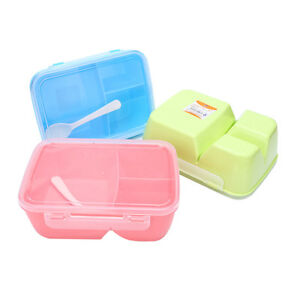 3 compartment Lunch Box Food Container Storage Travel Bento +spoon