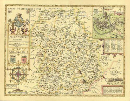 Shropshire County Shrewsbury Replica Old  John Speed map c1610 Hand Coloured