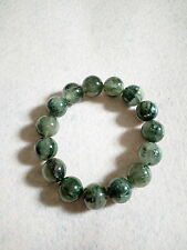 NATURAL 14.5 MM TO 15 MM GREEN HAIR RUTILATED CRYSTAL BRACELET (BRAND NEW)
