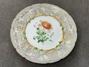 Antique English 19th Century Possibly Coalport Porcelain Cabinet Plate Flower