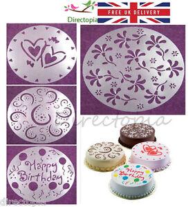 Fabulous 4 X Large Cake Stencils Birthday Decorating Stencil Valentine Personalised Birthday Cards Vishlily Jamesorg