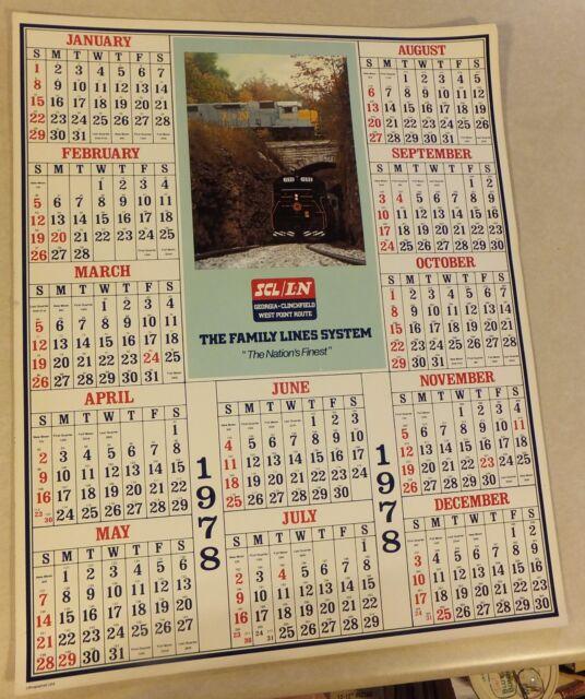 VTG SCL/ L&N RR GEORGIA CLINCHFIELD WEST POINT RT 1978 WALL CALENDAR 22