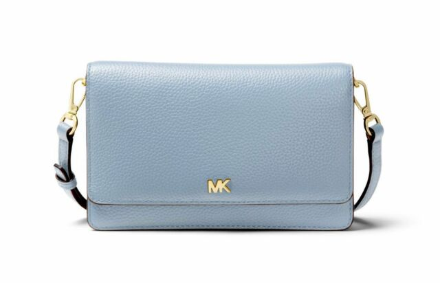 ea7839553e9d ... best michael kors pale blue pebbled leather phone wallet crossbody  ad534 24eb0