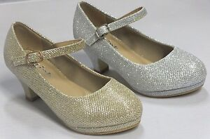 Girls Glitter Dress Shoes Pageant Heels (danak) Kid Gold Silver ...