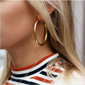 Chic-Punk-Minimalist-Thick-Tube-Gold-Big-Circle-Statement-Hoop-Earrings-Jewelry