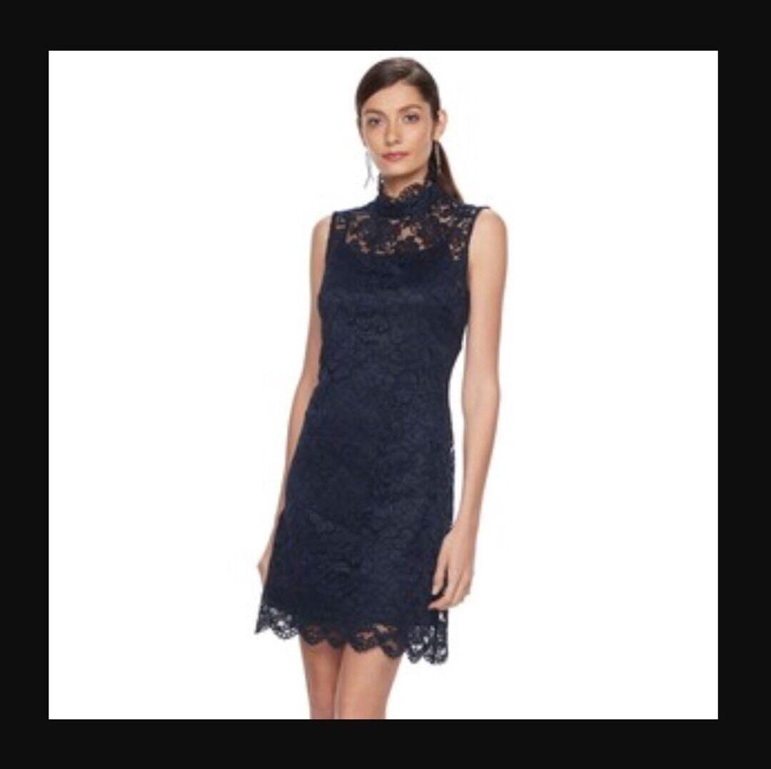HOPE & HARLOW Navy High Neck Lace Dress MSRP