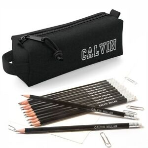Personalised-Black-Pencil-Case-with12-HB-printed-Pencils-with-Erasers-Black