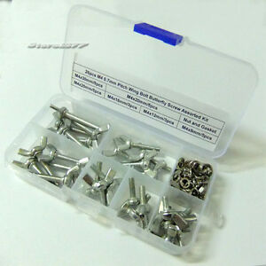 26pcs-M4-0-7mm-Pitch-Stainless-Steel-Wing-Bolt-Butterfly-Screw-Assorted-Kit-D018