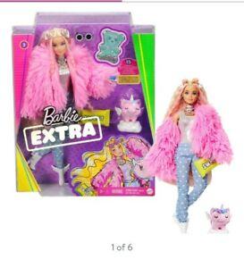NEW-2020-Mattel-Barbie-Extra-Doll-In-Pink-Coat-Pet-Unicorn-Pig-2020