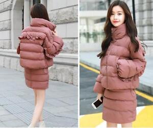Fashion-Women-Winter-Warm-Thicken-Coat-Short-Skirt-Down-Cotton-Two-piece-Suit