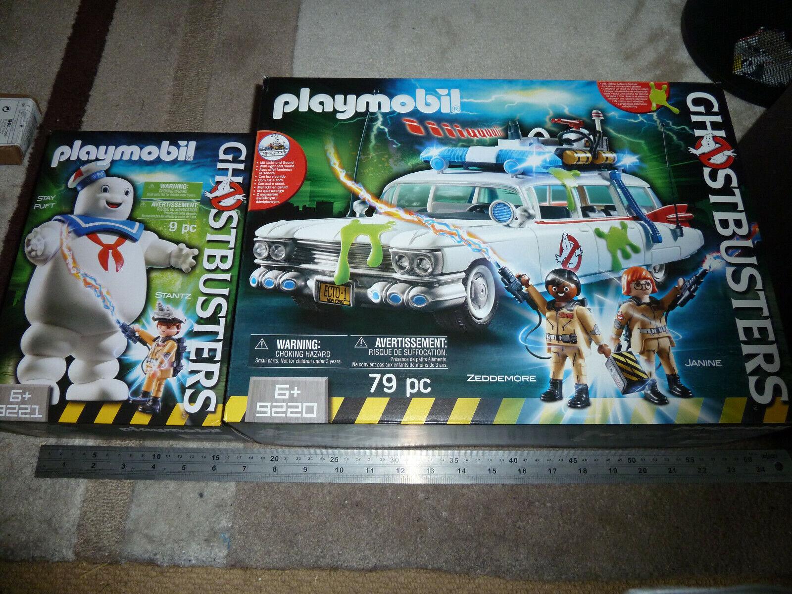PLAYMOBIL GHOSTautobusTER ECTO 1 AUTO Playset  9220 + Stay Marshmtuttiow uomo 9221 Nuovo di Zecca Set  risparmia fino al 30-50% di sconto