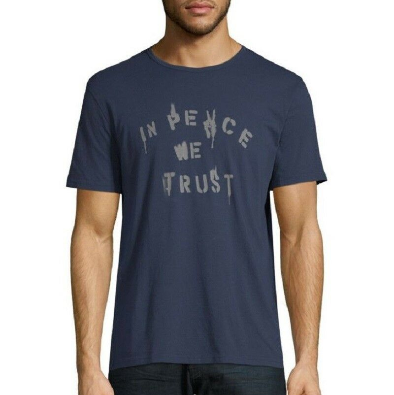 John Varvatos Star In USA Uomo's In Star Peace We Trust Cotton Graphic Crew T-Shirt Navy 6d7ef4