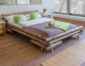 4990dadb5d Das Bild wird geladen Bambusbett-Bambus-Bett-180-cm-braun-massiv-Futonbett-